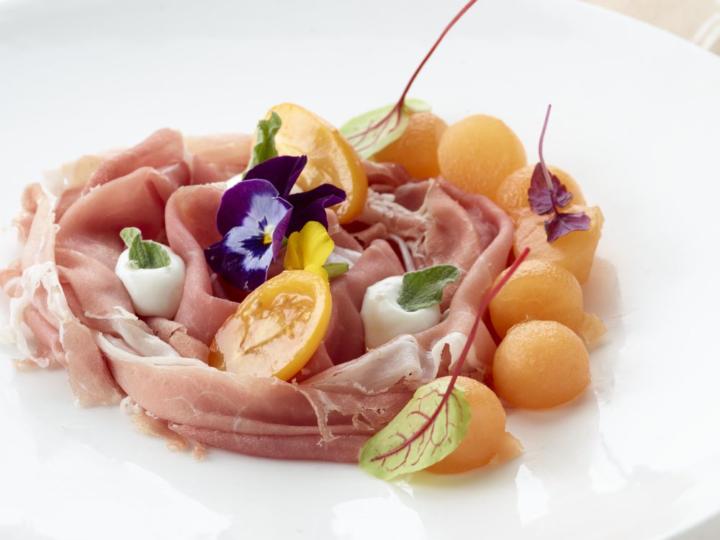Prosciutto di Parma met meloen in vermouth