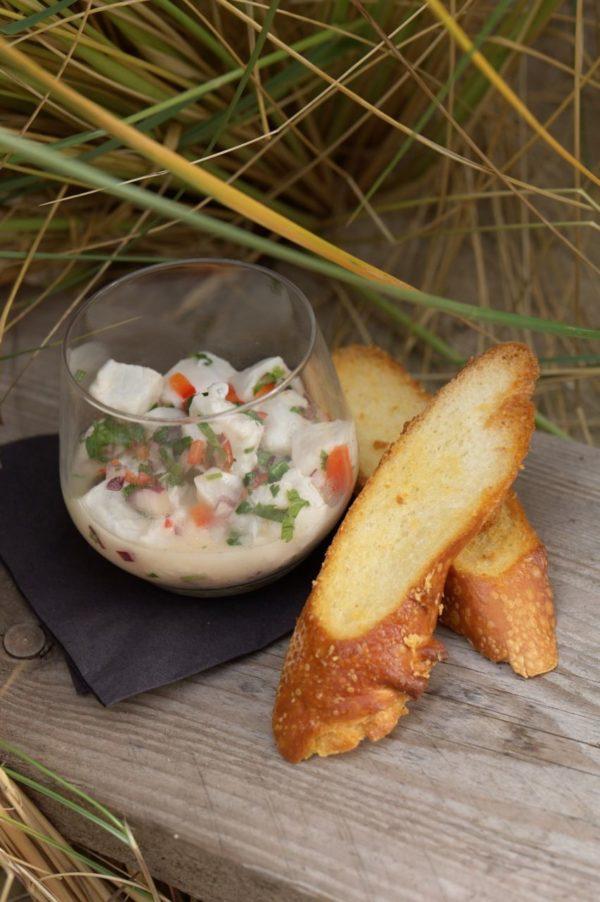Ceviche van witte vis en octopus