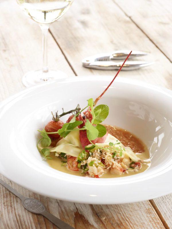 Open ravioli van kreeft en krab