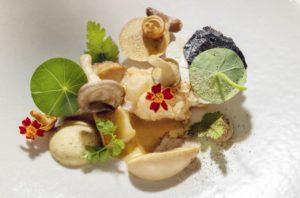 Langoustine met paddenstoelen