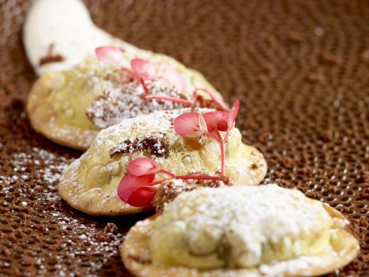 Ravioli met chocolade en mascarpone