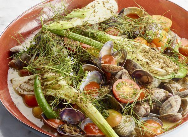 Zeeuwse kokkels on vermout met venkel en tomaat